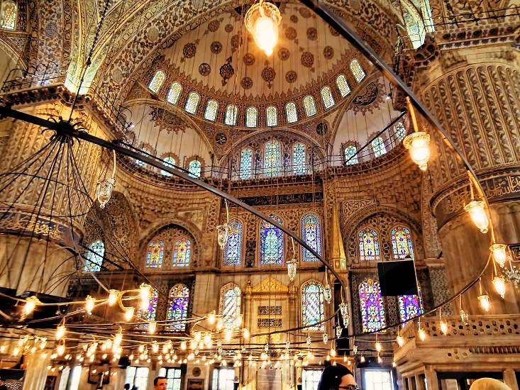 Inside Blue mosque Istanbul Turkey. photo