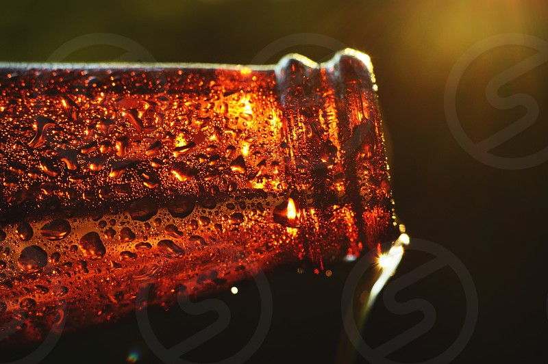 Sundown in Suds Town. Close up view of beer being poured at sunset. Has a small starburst. photo