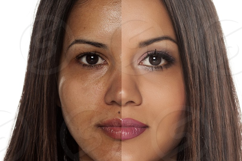 Comparison portrait of a exotic beautiful woman without and with makeup photo