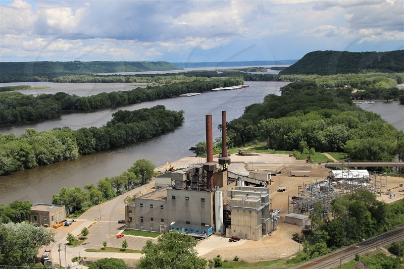 View of Steam Plant and Mississippi River from Barn Bluff Red Wing Minnesota photo