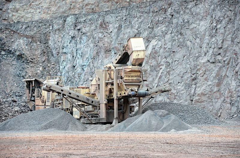 stone crusher in surface mine. hdr image photo