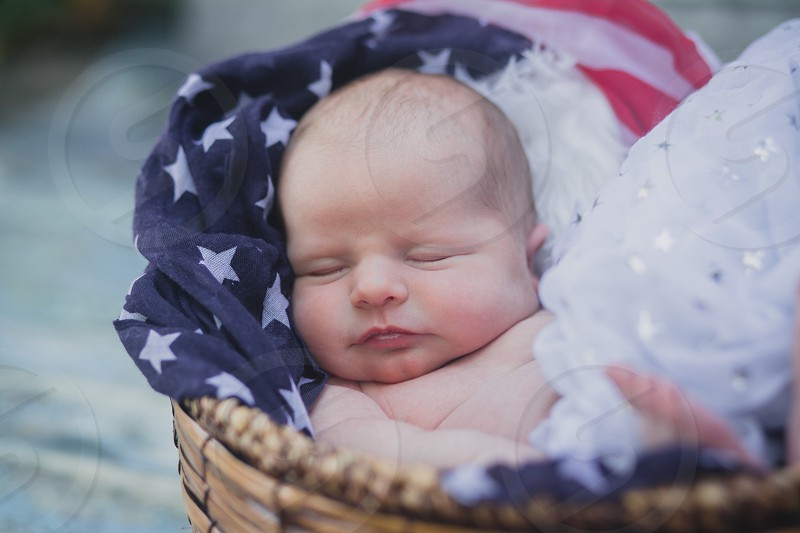 Baby infant newborn Fourth of July  summer precious photography red white blue patriotic child daughter photo
