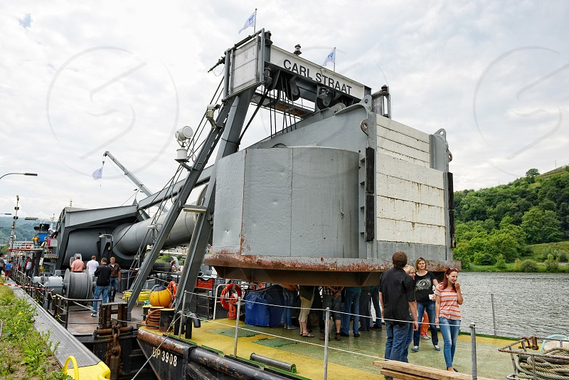 Buttig Rhineland-Palantinate/ Germany June 01 2014: Service vessel with diving bell on a visiting day on Moselle river. photo
