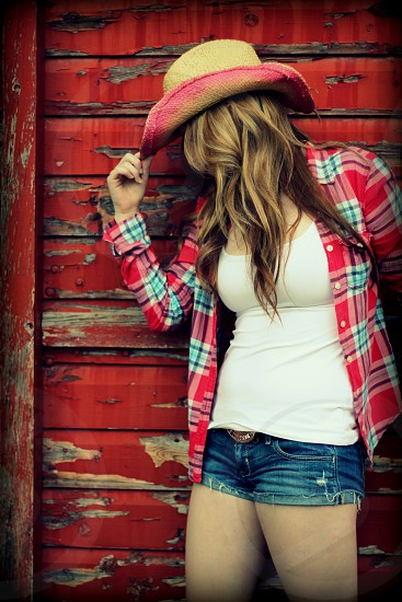 Cowgirl stampede calgary yyc red flannel cowboy hat girl photo