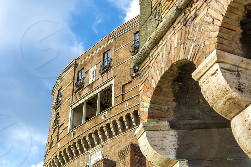 Detail of the facade of Castel Sant'Angelo.  photo