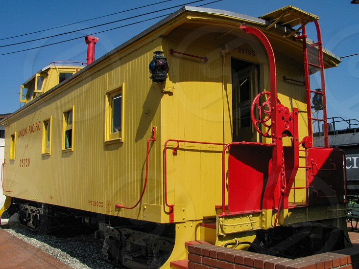 A restored 1910 class CA-1 wooden Union Pacific railway caboose at the Lomita Railroad Museum in Los Angeles Calfornia originally ran on the OWR&N line in Washington. photo