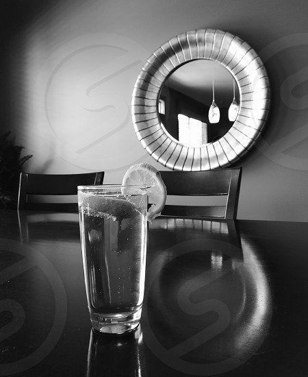 beer table mirror table black white photo