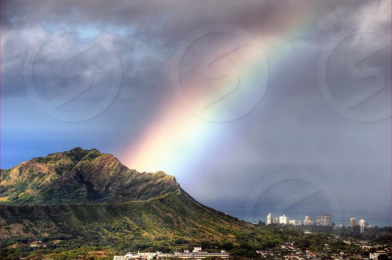 Diamond head Honolulu rainbow Oahu Waikiki  photo