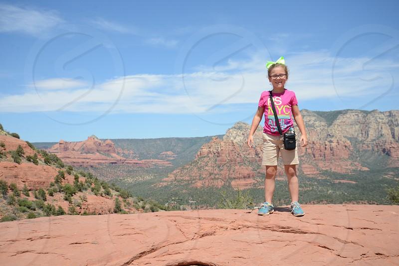 Sedona daughter hiking adventure gorgeous photo