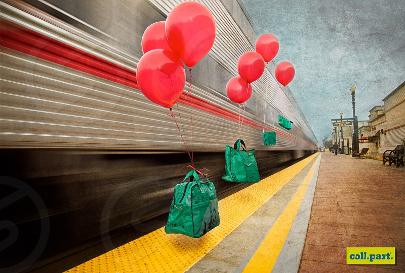 advertising travel bags collection station train speed balloon red green yellow coll.part. photo