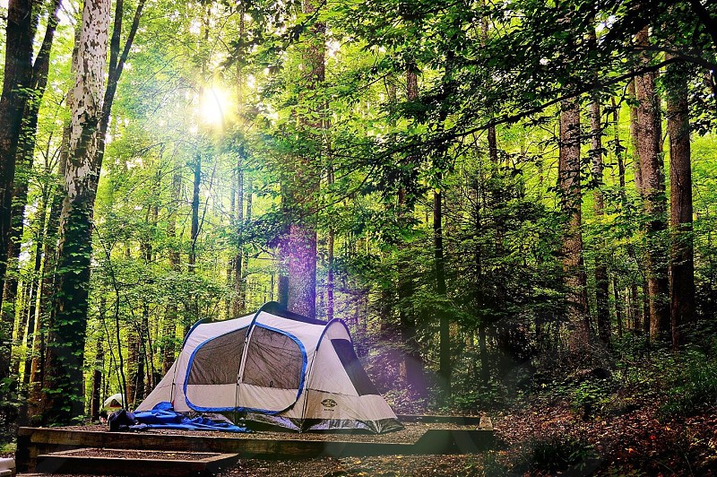 Mountains camping tent trails photo