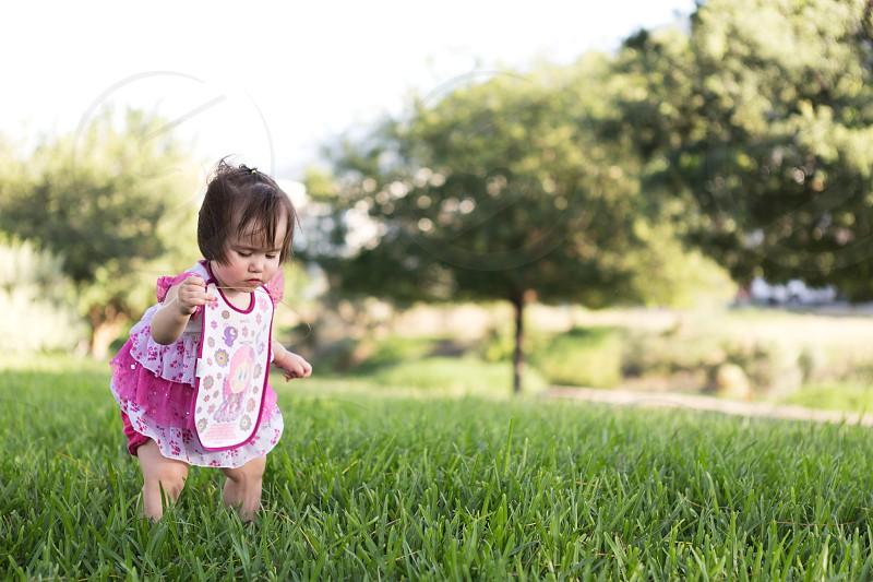 Curious Baby Park Sun Green Playground Pink Dress photo