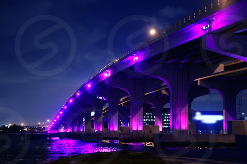 Miami florida bridge night view A1A Mac Arthur Causeway  photo