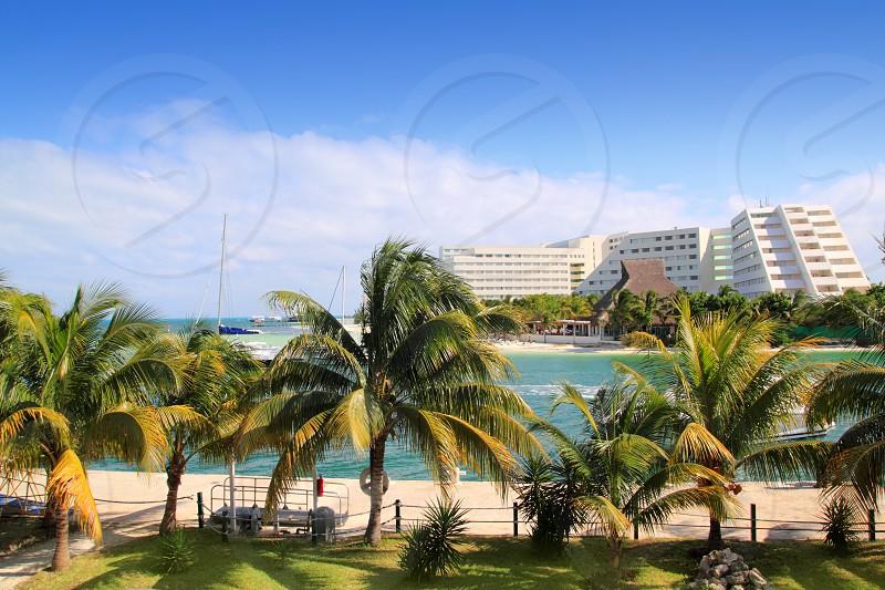 Cancun Mexico Lagoon and Caribbean sea Mayan Riviera photo