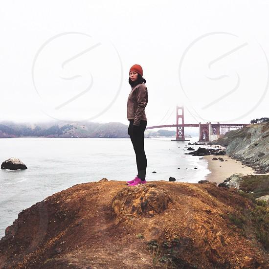 women's red beanie photo