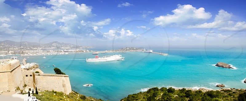 Ibiza panoramic view from up castle ferry boat Balearic islands photo