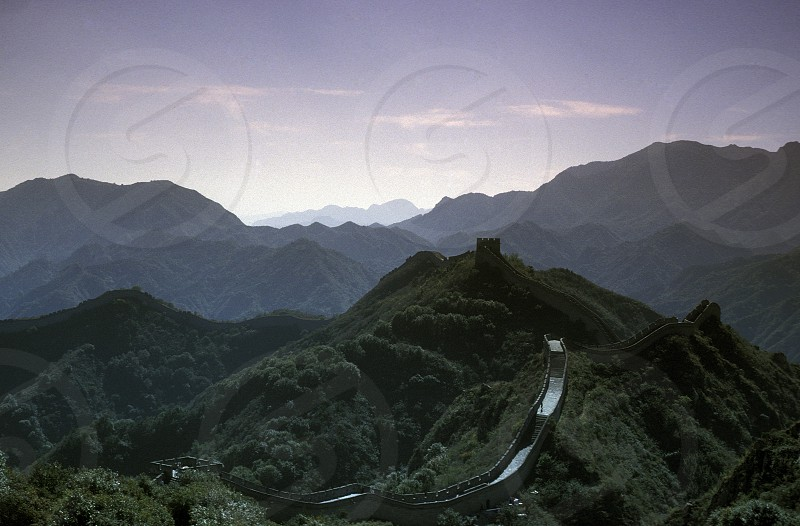 the great wall near the city of beijing in the east of china in east asia.  photo