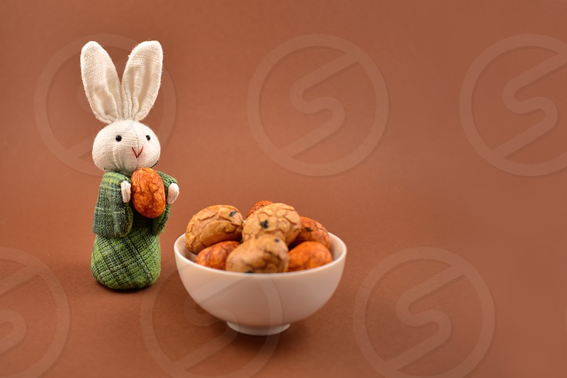 Easter Bunny with Eggs. Easter bunny on a brown background. Spring decoration images. Easter concept. Cute white rabbit toy photo