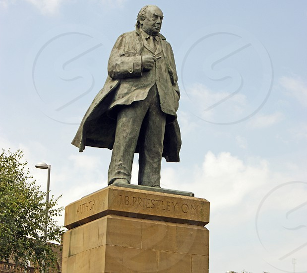 ENGLAND. WEST YORKSHIRE BRADFORD. The J.B. Priestley statue outside of the National Science and Media Museum.  photo