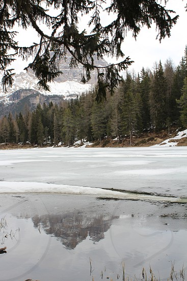 ice cold snow frozen lake photo