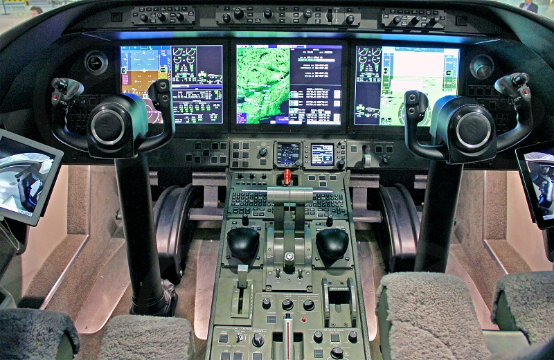 Cockpit of a private business jet photo