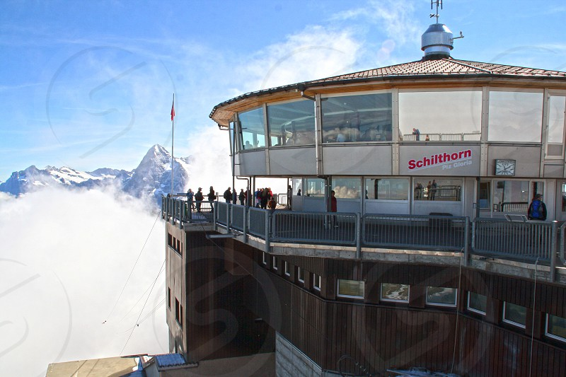 Schilthorn - Lauterbrunnen observation area on the mountain peak in Switzerland. photo