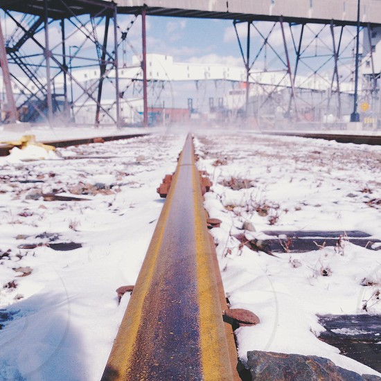snow and brown structure photography  photo
