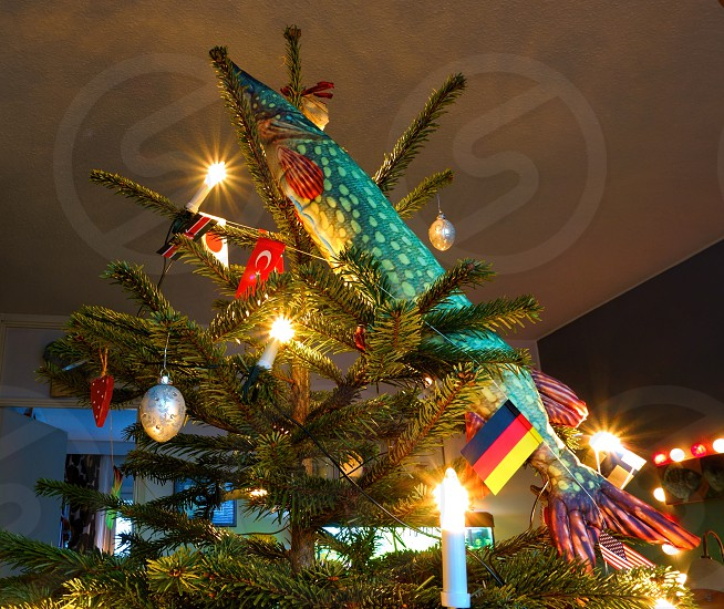 Fishing style Christmas tree decorations in Finland (Northern Pike). photo