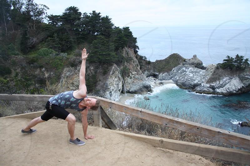 yoga at McWay Falls California photo
