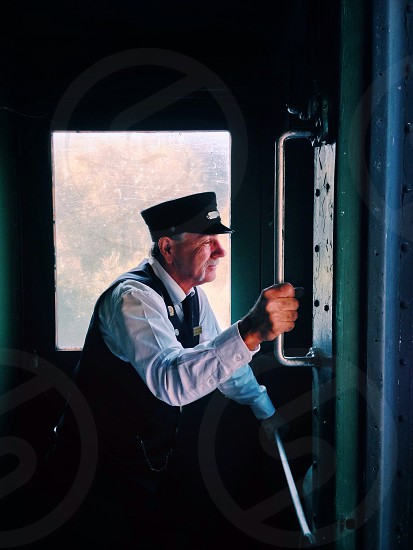Our conductor as we take in the scenery at Lehigh Gorge S.P Trail onboard a locomotive.  photo