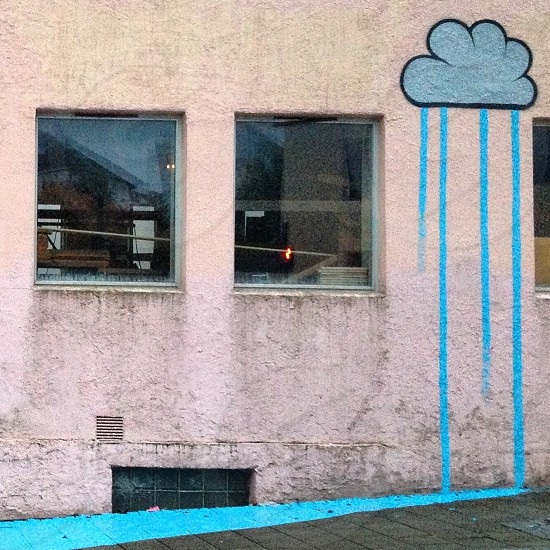 blue and black rain cloud graffiti art photo