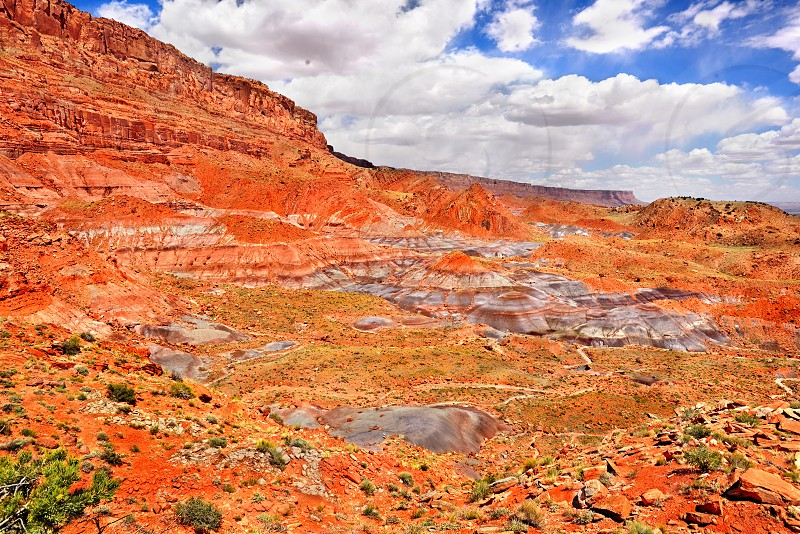 The Vermillion Cliffs with mounds of bentonite clay at the base. Vermillion Cliffs National Monument Arizona. photo