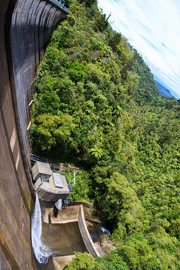 View down the front of a dam in the Waitakere Ranges Auckland photo