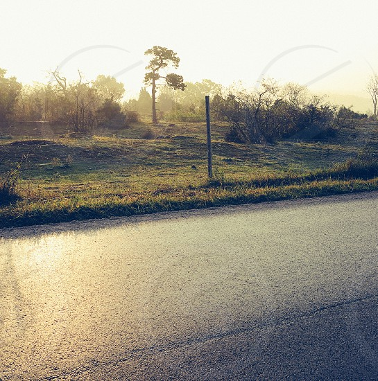 open road countryside sunrise photo