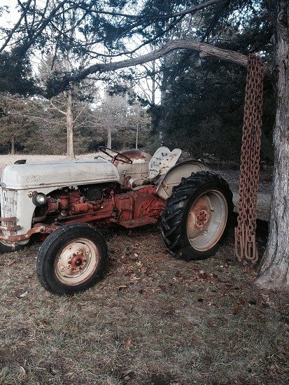 view of tractor under the tree photo