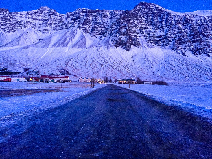 Iceland winter wonderland point of view wall ice snow winter cold. photo
