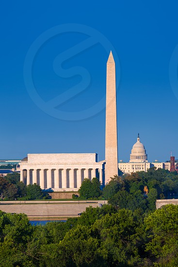 Washington DC skyline with Monument Capitol and Abraham Lincoln memorial photo