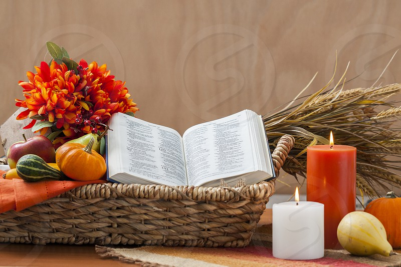 Thanksgiving Bible Candles Harvest photo