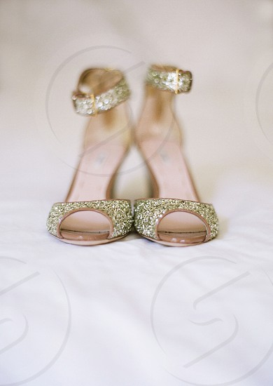 accessories shoes heels dressy wedding glitter shimmer special gold buckle elegant style photo