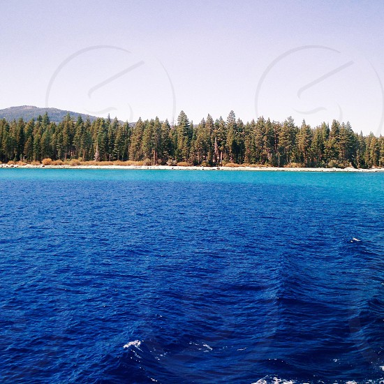 Lake Tahoe by boat. Beautiful clear blue water photo