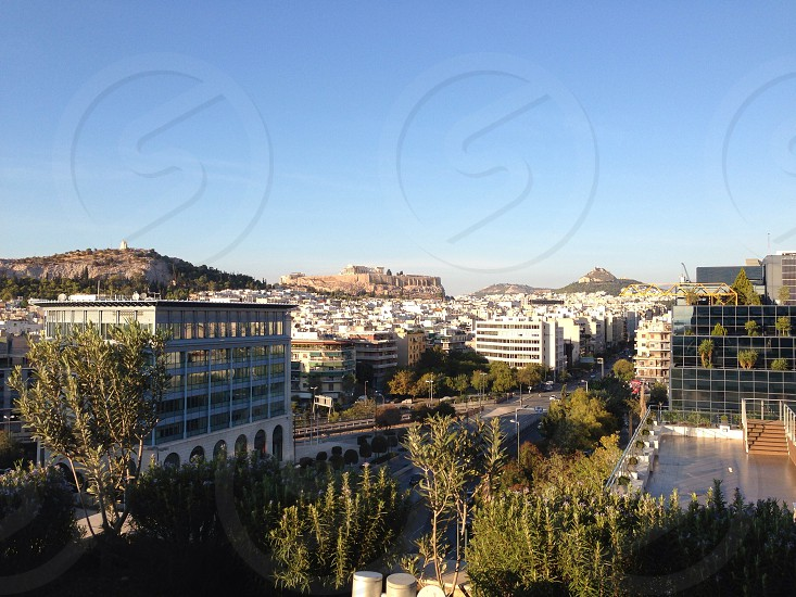 Athens Greece City the Acropolis & Lycabettus Hill photo