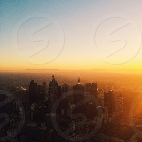 Melbourne sunrise skyline. Australia photo