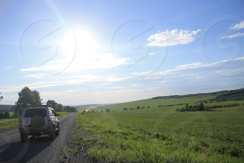 car travelling greenfield russian nature photo