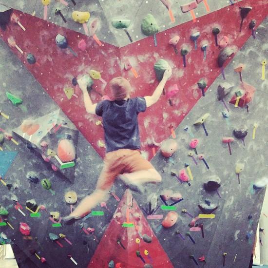 Indoor rock climbing.  photo
