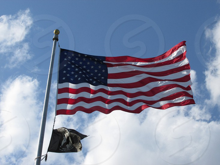 usa flag on pole photo