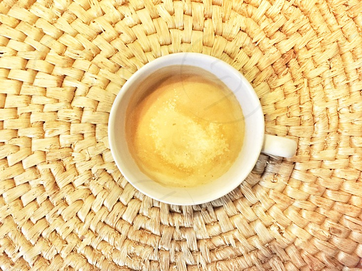 Aerial view of a cup of coffee photo