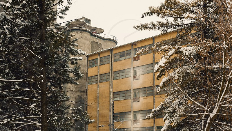 Exterior of an old factory building winter season view through the trees. photo