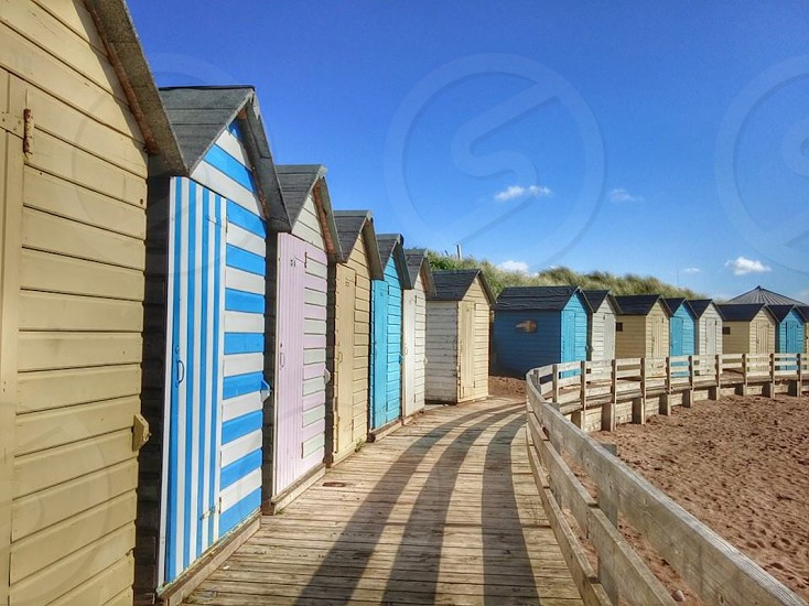 Beach huts on Summerleaze beach in Bude Cornwall photo