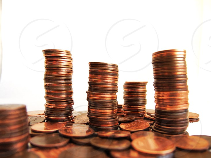 stacks of copper coins photo