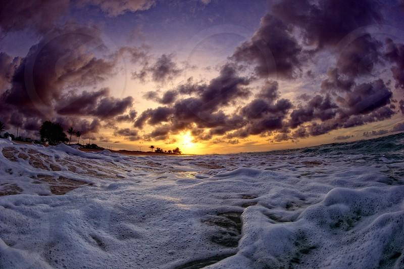 Sunrise in the water Hawaii O'ahu ocean photo